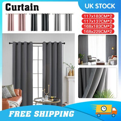2 Panel Thick Thermal Blackout Fabric Curtain Ready Made Eyelet Ring Pair Drapes • 12.99£