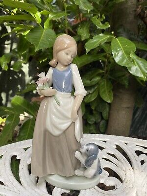 Nao By Lladro Figurine Girl With Puppy And Flowers • 25£