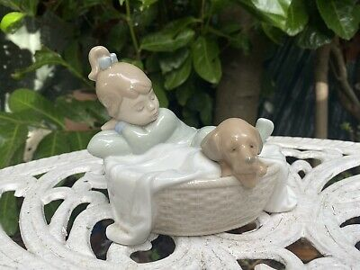 Nao By Lladro Figurine Sleeping Girl With Puppy In Basket • 18£