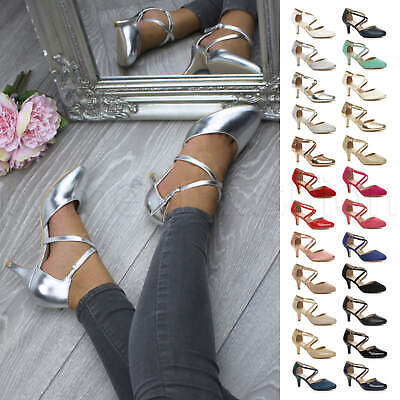 £19.99 • Buy Womens Ladies Mid Heel Cross Straps Bridal Party Evening Shoes Sandals Size