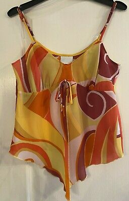 Ladies Camisole Top Multicoloured Size 10 With Front Tied Decoration • 9.50£