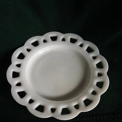 $17.46 • Buy Vintage Anchor Hocking Milk Glass Cake Stand Plate Colony Lace 8.5