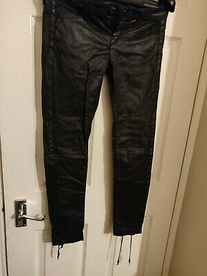 GUESS JEANS PREMIUM Collection Leather Lace Tie Up Feature Black Size 10 • 39.99£