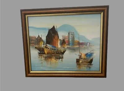 Knife Painting On Canvas Asian Boats On Sea With Town In Background • 10£