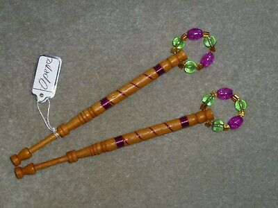Lacemaking Lace Bobbins Pair Opepe Wood - Wired In Fuchsia • 6£