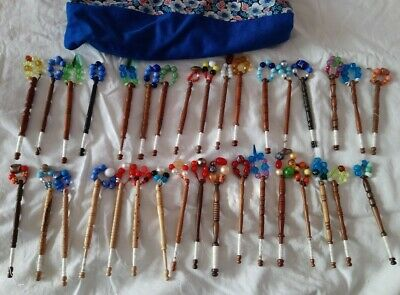 Vintage Bundle Of Wooden Lace Making Bobbins And Spangles X34 • 25£