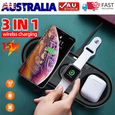 AU34.99 • Buy 3 In 1 Wireless Fast Charger Dock Stand For AirPods Apple Watch And IPhone AU&