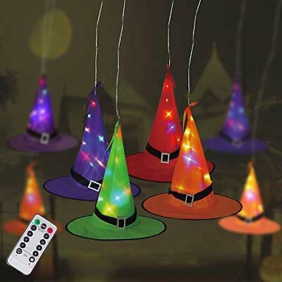 $ CDN27.65 • Buy Halloween Decorations Witch Hat String Lights 8Pcs Hanging Lighted Glowing Wi...