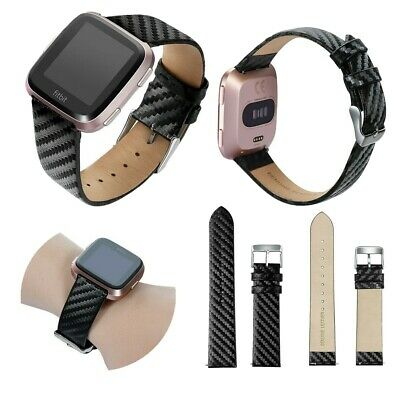 $ CDN18.57 • Buy Fashion Genuine Leather Watch Band For Fitbit Versa Lite 2 Carbon Fiber Straps