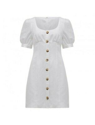 AU55 • Buy Forever New Portia Button Dress Size 8 Linen White
