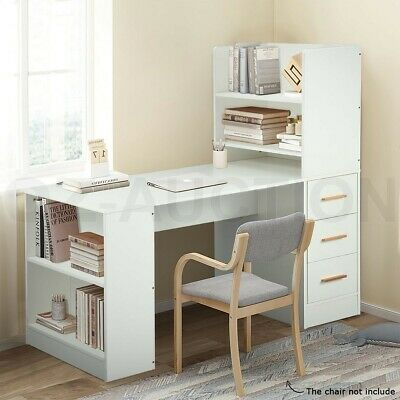 AU179.95 • Buy 120cm Computer Desk Hutch With Shelves And Drawers On Side Home Office Furniture