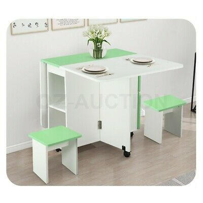 AU179.95 • Buy Dining Table And Chair 5 Piece Multifunctional Foldable Wood Furniture White&GN