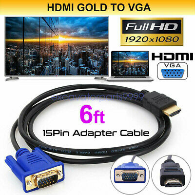 $ CDN5.33 • Buy HDTV HDMI Gold Male To VGA HD-15 Male 15Pin Adapter Cable 3.3/6/10/16FT 1M-5M