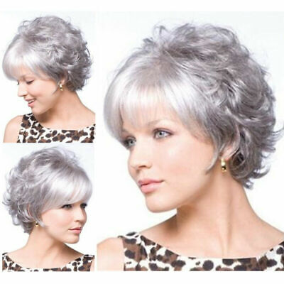 £10.13 • Buy Women Wig Short Grey Curly Ombre Wig Real Synthetic Full Hair Lady Cosplay Wig