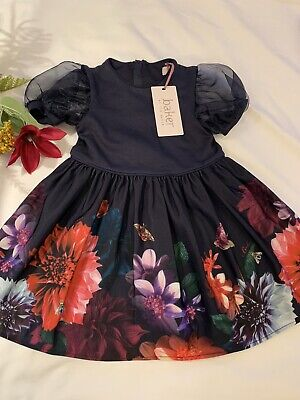 AU45.13 • Buy BNWT Girls Ted Baker Navy Floral Dress Age 3-4 Years