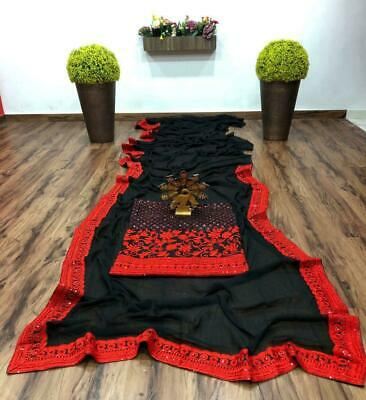 Saree Gorgette Heavy Lace Border Saree Traditional Sari With New Fancy Blouse   • 32.99£