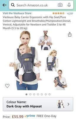 Viedouce Baby Carrier Ergonomic With Hip Seat/Pure Cotton Lightweight NEW OTHER • 2£