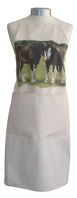 Shire Horses Horse Natural Quality Cotton Apron Double Pockets Baker Cook Gift • 16.99£
