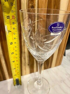 Pair Royal Doulton Jasmine Wine Glasses With Labels  8 /21cm • 45£