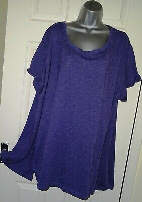 ✿Ladies YOURS Purple Mis Stretch Loose Fit Longline Top Tunic Size 26/28✿ • 4.90£