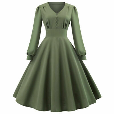 AU32.77 • Buy Women's Vintage Retro 50s Army Green Rockabilly Flared Pinup Swing Party Dress