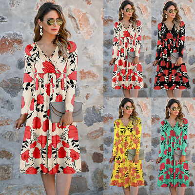 Women Floral Sundress Dress Dresses V Neck BOHO Holiday Beach Long Sleeve 6-18 • 18.59£