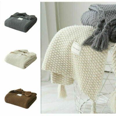 Artificial Cashmere Blanket Knitted Blanket Home Sofa Nap Throws Bedroom Sheet ~ • 16.97£