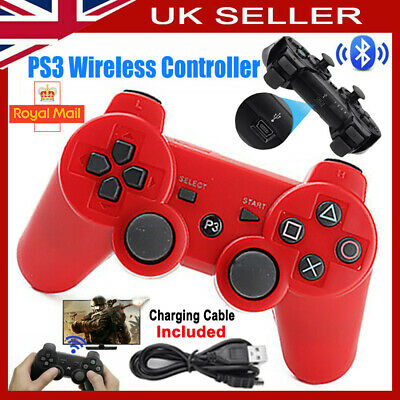 Red PS3 Controller PlayStation3 Wireless SixAxis GamePad With Data Cable UK • 9.39£