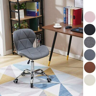 Cushioned Computer Desk Office Chair Chrome Legs Lift Swivel Small Adjustable UK • 39.99£