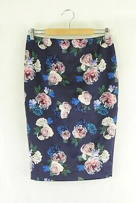 AU27.50 • Buy Forever New Blue Floral Skirt 10 By Reluv Clothing