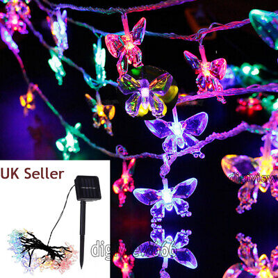 £10.16 • Buy 50LED Solar Powered Butterfly Fairy String Lights Outdoor Garden Christmas Party