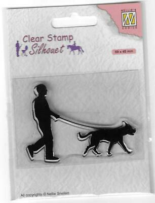Nellie Snellen / Clear /  Man With Dog / Dog Walking /UNMOUNTED / Stamp /SIL070 • 3.50£