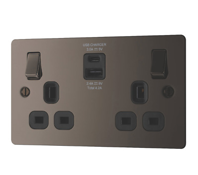 Lap 13a 2-gang Sp Switched Socket + 4.2a 2-outlet Usb Charger Black Nickel • 19.99£