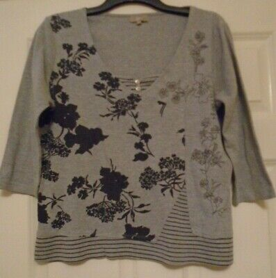 Ladies - Matalan - Smart Grey Crew Neck Top With Black Pattern - Size 16 • 0.99£