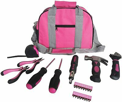 NEW Ladies Pink Tool Kit Tool Bag DIY Set Includes Pink Hammer, Pink Pliers..... • 19.95£