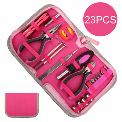 23PCS Tool Set Kit Box Women Ladies Girls Female Hand Tools Screwdriver Pliers☃ • 11.99£