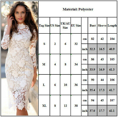 Women White Lace Dress Summer Long Sleeve Party Pencil Dresses Ladies Sexy • 23.59£