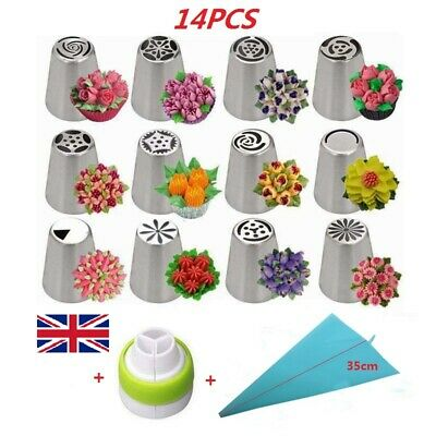 14PCS/Set Russian Stainless Pastry Tips Fondant Cake Decor Icing Piping Nozzles • 8.59£