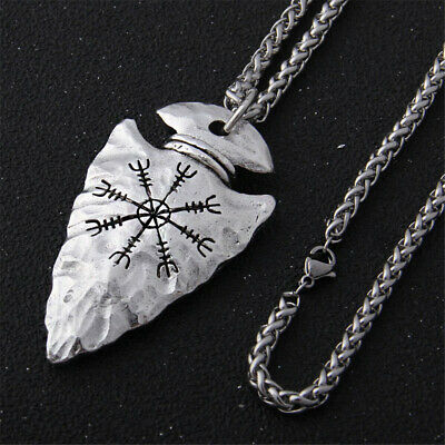 Stainless Steel Chain Nordic Viking Runes Necklace Spear And Vegvisir Pendant • 3.67£