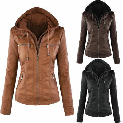 Womens PU Jackets Motorcycle Leather Hooded Ladies Biker Outerwear Coats Parka • 26.99£