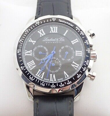 AU14.85 • Buy Mens Lombard & Cie Automatic Stainless Black Dial Wristwatch Watch