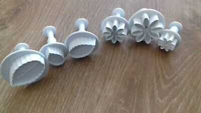 Set Of 6 Plunger Fondant Cutters.  Flowers/leaves • 2.25£