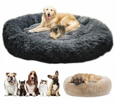 Deluxe Fluffy Extra Large Dog Beds Sofa, Washable Round Dog Pillow For Any Sized • 19.99£