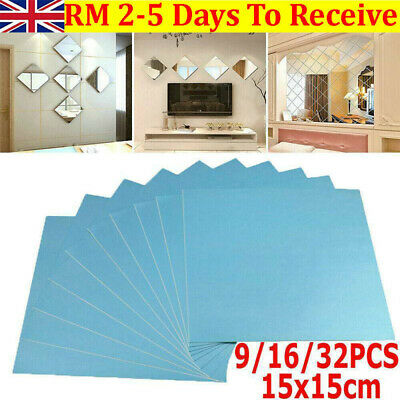 Glass Mirror Tiles Wall Sticker Square Self Adhesive Stick On Art Home Decor 32X • 4.39£
