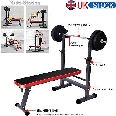 £59.99 • Buy Adjustable Folding Sit Up Weight Bench Barbell Dip Station Lifting Chest Press