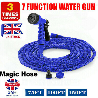 Heavy Duty Expandable Flexible Garden Magic Water Hose Pipe Spray Gun 75 100 150 • 12.95£