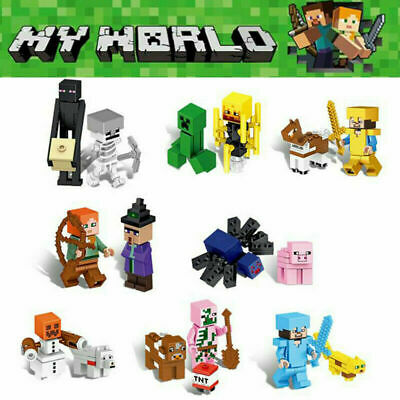 AU15.99 • Buy 8Pcs Minecraft Blocks Figures Fit Building Characters World Mini My Series Lego~