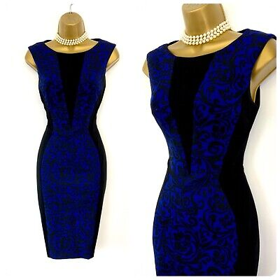 *RESERVED For Dee6324528 ** Karen Millen Blue Black Floral Dress Size 8 • 21£