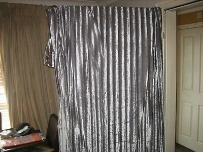 Ashley Wilde Pair Of Curtains, Silver Velvet Type, Stripped Pattern, 90 X 90 Ins • 85£
