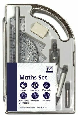 £3.35 • Buy 9 Piece Maths Geometry Set Back To School Exam Stationery Compass Protractor CMA